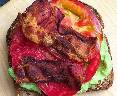 Open Faced Bacon Avocado Tomato Sandwich